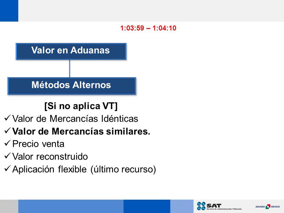 Valor en Aduanas Métodos Alternos [Si no aplica VT]